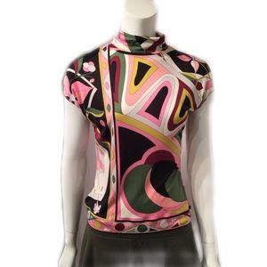 abf1ddafbd2 Emilio Pucci Tops - Emilio Pucci Silk Cap Sleeve Turtleneck Top